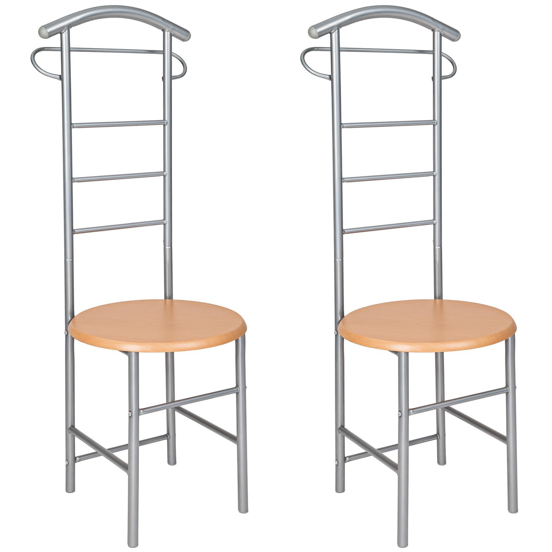 Kledingrek stoel 42 x 120 x 43 cm in zilver van tectake