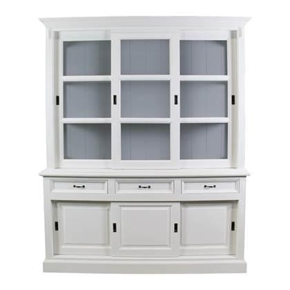 Winkelkast 180 cm wit-grijs grenen-glas HSM Collection