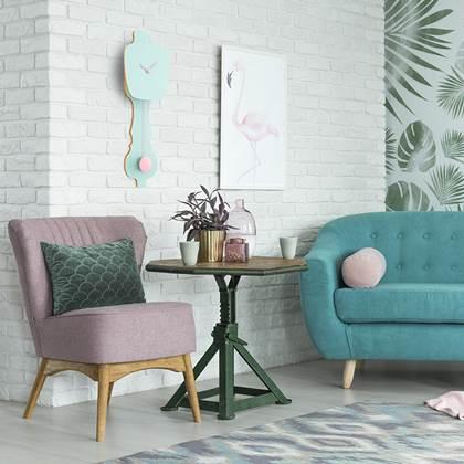 Kleine Design Wandklok Met Slinger In Zacht Groen Perzik Pastel Kopen Shop Bij Fonq