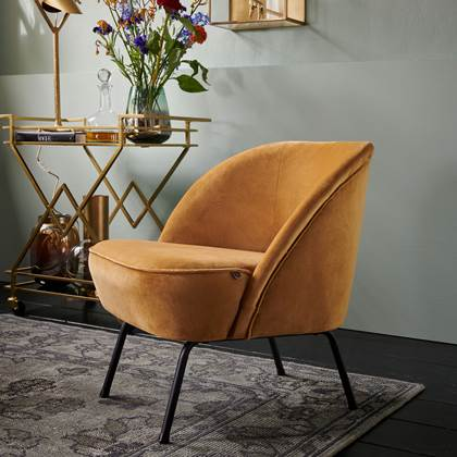 Fauteuil Vogue fluweel mosterd BePureHome kopen? Be Pure Home