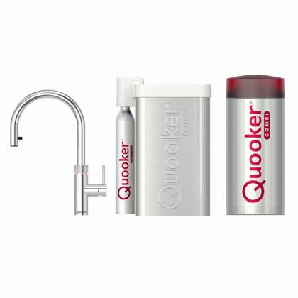 Quooker Flex Chroom met COMBI boiler en CUBE reservoir 5-in-1 kraan
