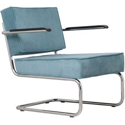 Fauteuil Ridge lounge armleuningen blauwe ribstof, home24