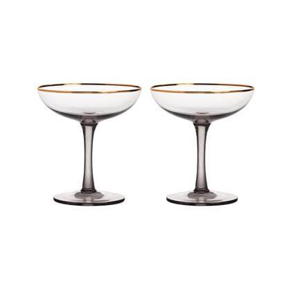 &k amsterdam Smoked Champagneglas - 2 st.