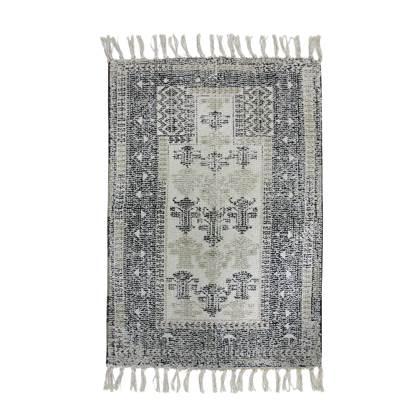 HKliving badmat overtufted black white 90 x 60 online kopen