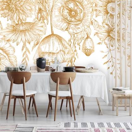 Daring Walls Behang Poppy Flowers Gold Kopen Shop Bij Fonq