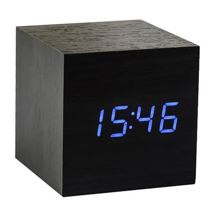 Gingko Cube Click Wekker - Zwart/Blauw