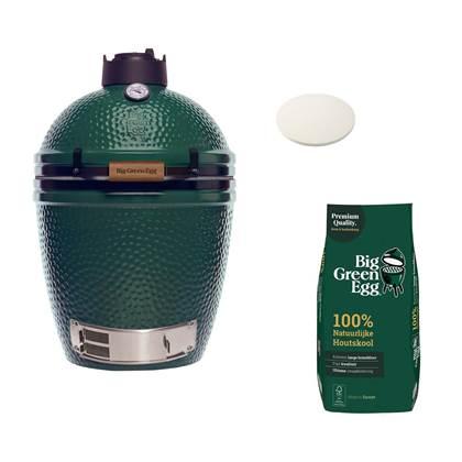 Big Green Egg Medium Houtskool barbecue + Houtskool + Pizzasteen