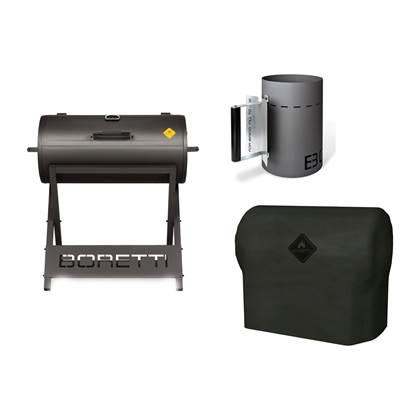 Boretti Barillo Houtskool barbecue + Hoes + Brikettenstarter