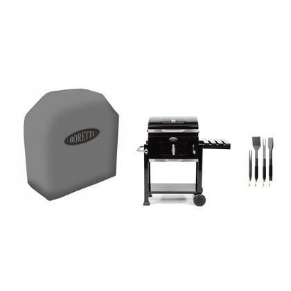 Boretti Carbone Houtskool Barbecue + Hoes + Barbecueset 6-delig