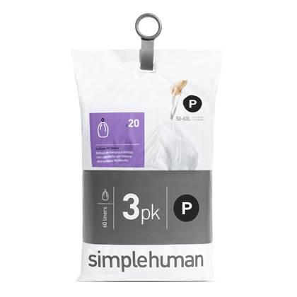 Simplehuman Code P Pocket Liners Afvalzakken 50-60 Liter - 60 zakken