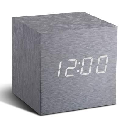 Gingko Cube Click Wekker Aluminium