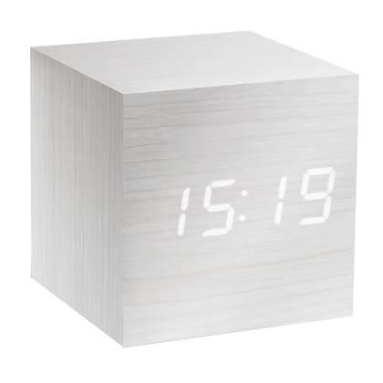 Gingko Cube Click Wekker - Wit