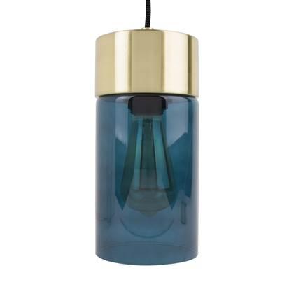 Hanglamp Lax Blauw glas Goud Incl. lichtbron Leitmotiv