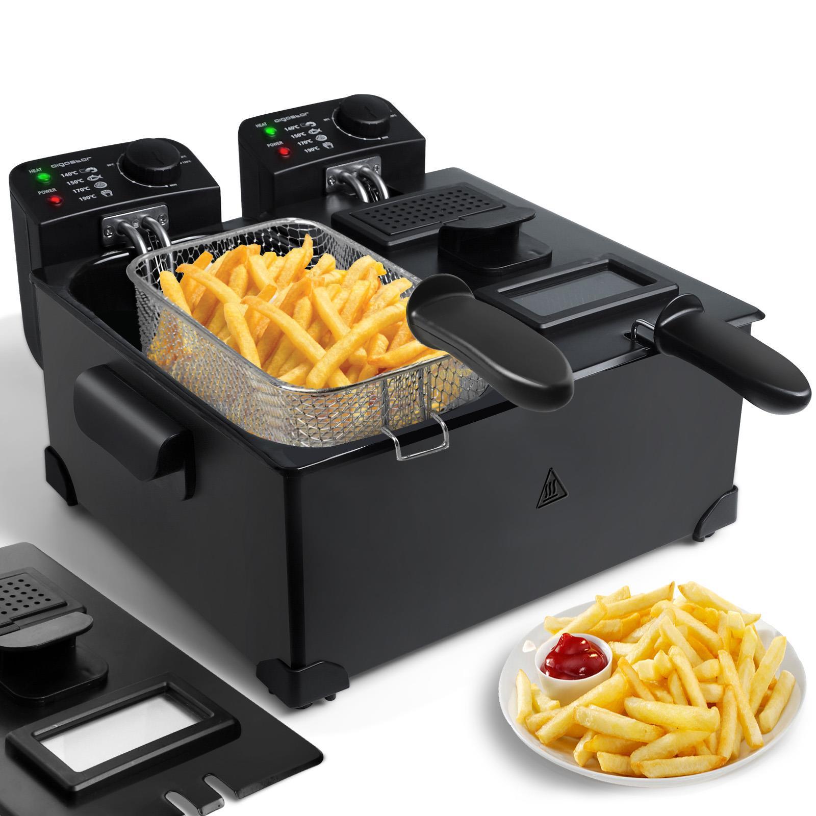 FonQ-Aigostar Feast 30VDW-Dubbele frituurpan-2x3 liter-Zwart-aanbieding