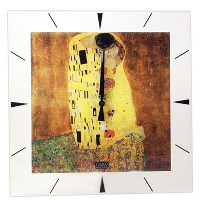 Fresco Wandklok Gustav Klimt 'The Kiss'