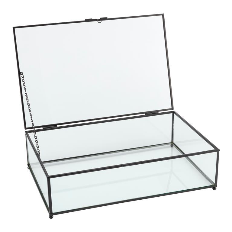 FonQ-vtwonen Glazen Opbergdoos Vitrine - Zwart (21 cm)-aanbieding