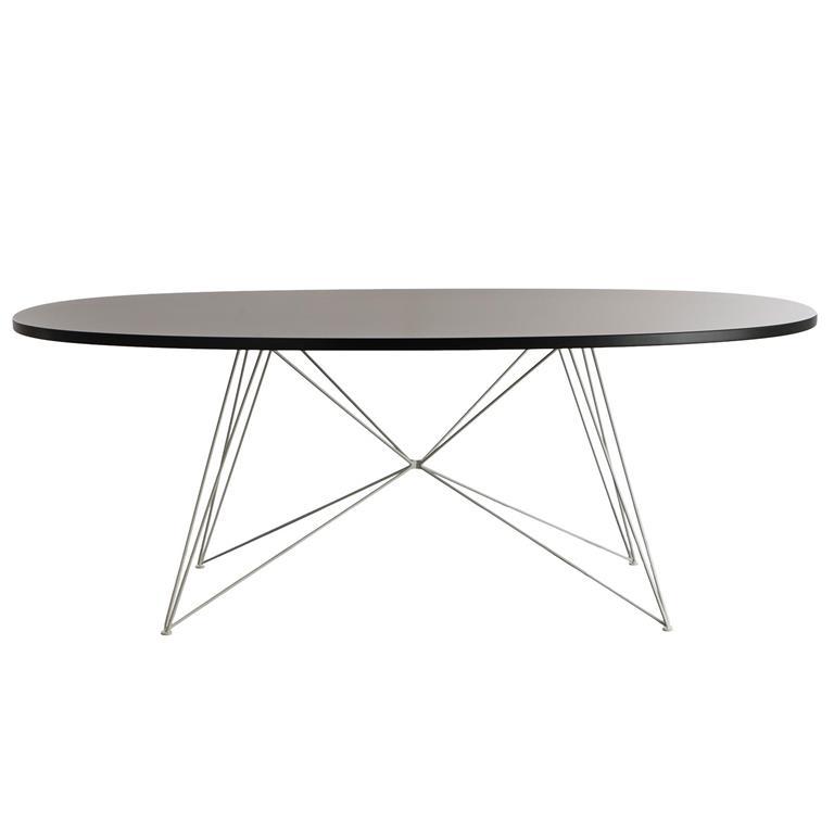 FonQ-Magis XZ3 tafel ovaal 200 zwart MDF met wit stalen onderstel-aanbieding
