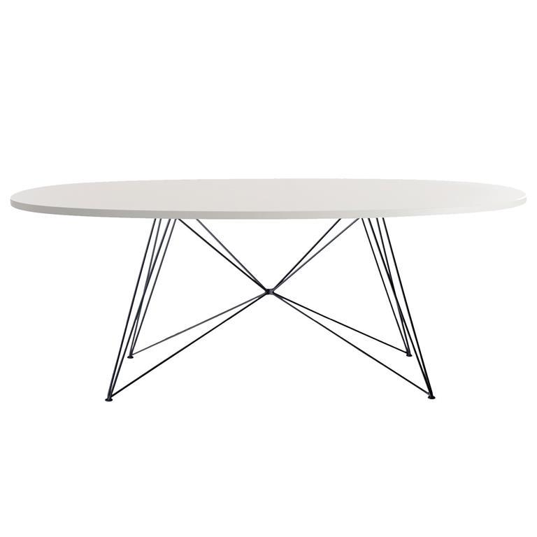 FonQ-Magis XZ3 tafel ovaal 200 wit MDF met zwart stalen onderstel-aanbieding