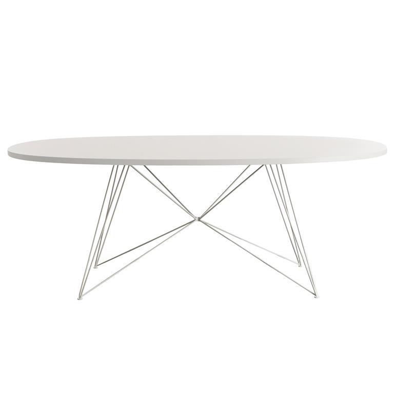 FonQ-Magis XZ3 tafel ovaal 200 wit MDF met wit stalen onderstel-aanbieding