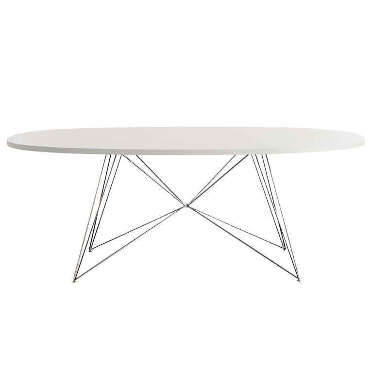 FonQ-Magis XZ3 tafel ovaal 200 wit MDF met chrome stalen onderstel-aanbieding