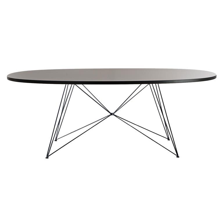 FonQ-Magis XZ3 tafel ovaal 200 zwart MDF met zwart stalen onderstel-aanbieding